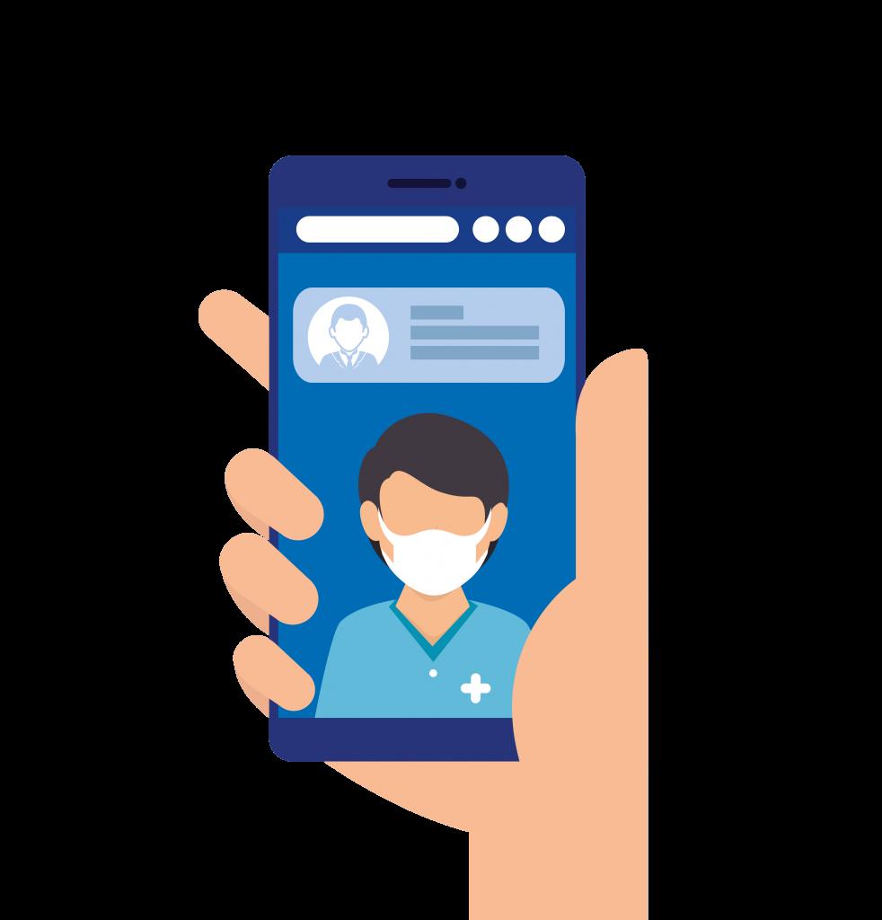 celular transmitindo consulta de telemedicina